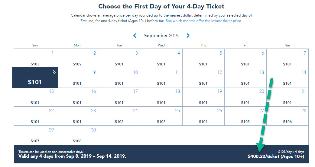 disney world ticket price calendar